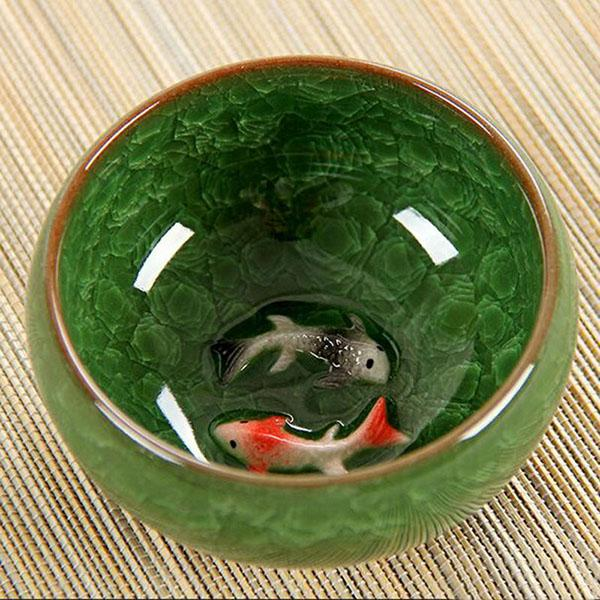 Ice Crack Glaze Ceramic Kung Fu Tea Set Anaglyph Fish Cup On Single Cup Sample Tea Cup - <200Ml / Green