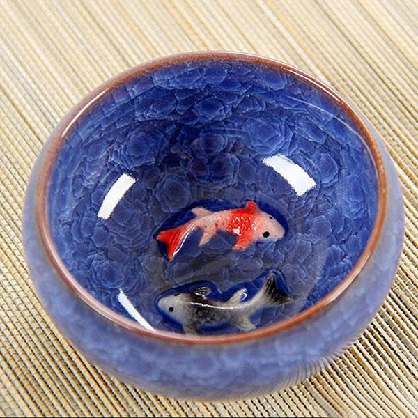 Ice Crack Glaze Ceramic Kung Fu Tea Set Anaglyph Fish Cup On Single Cup Sample Tea Cup - <200Ml / Dark Blue