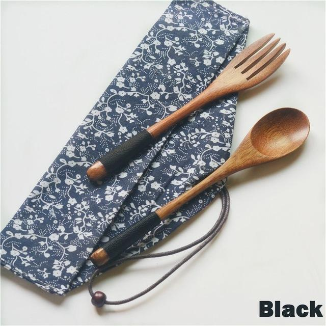 Eco-Friendly Japanese Style Wooden Cutlery Kit - Black - Cutlery