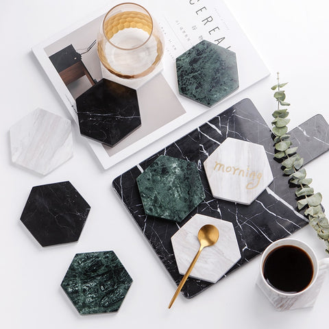 Chic Green Marble Pattern Ceramic Coaster