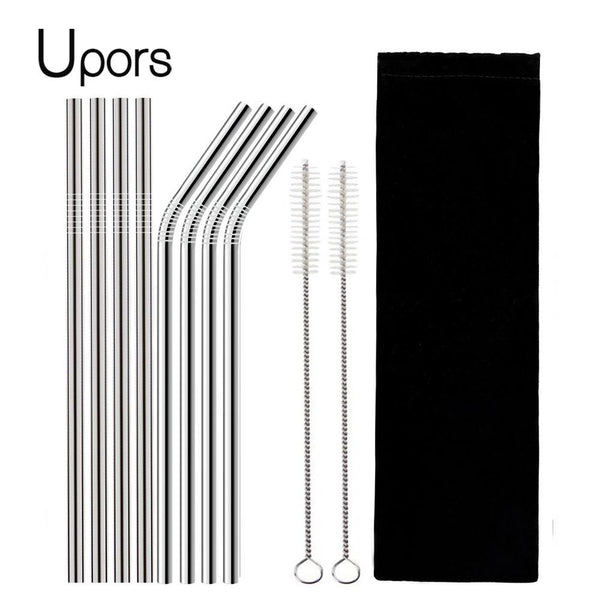 Full Set Of Silver High Quality Metal Straw With Cleaner Brush (Metal Straw + Brush + Travel Bag) - Other