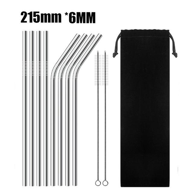 Full Set Of Silver High Quality Metal Straw With Cleaner Brush (Metal Straw + Brush + Travel Bag) - E - Other
