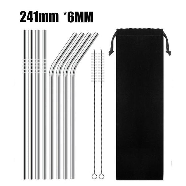 Full Set Of Silver High Quality Metal Straw With Cleaner Brush (Metal Straw + Brush + Travel Bag) - F - Other