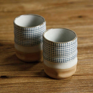Retro Blue Stripe Japanese Ceramic Tea Cup - Cup & Mug