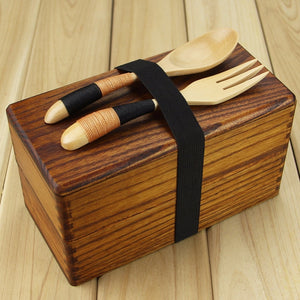 Double deck wooden lunch box