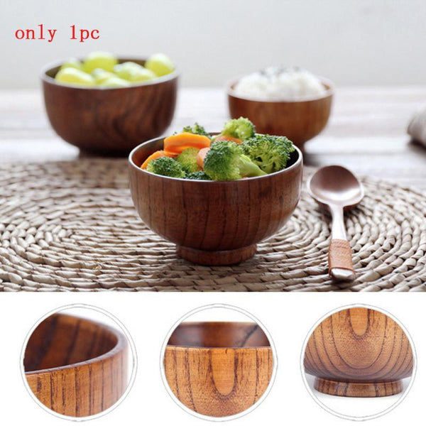 Japanese Style Rice Wooden Bowls Noddle Rice Eating Wooden Bowl Original Wood Bowl Tools