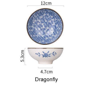 Japanese Style Ceramic Rice Bowl - Dragonfly