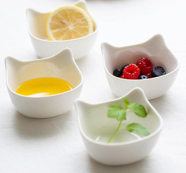 (4 Pcs/ Set) Ceramic Cat Bowls - Bowl