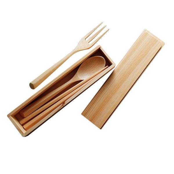Japanese Style Wooden Cutlery Set With Wooden Box - Cutlery