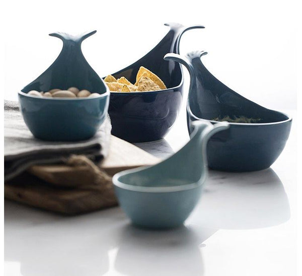 1 Pcs (Various Sizes) Nordic Style Blue Whale Ceramic Bowls - Bowl