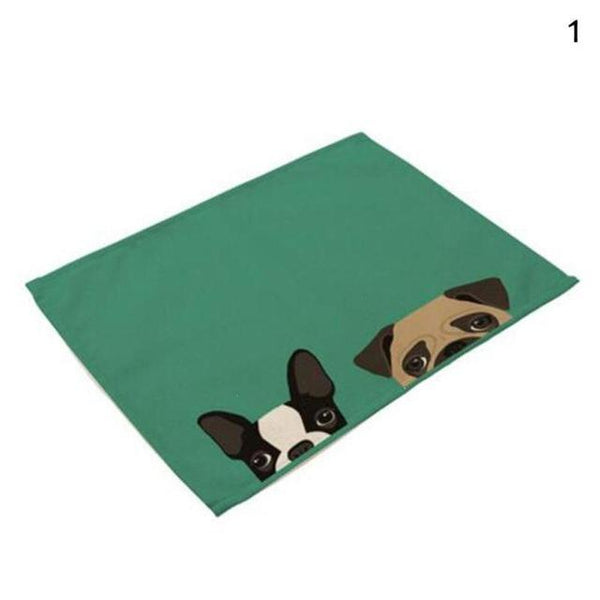 Cat& Dog Linen Placemat - Green-Dog - Other