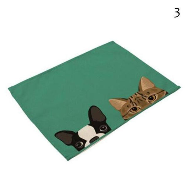Cat& Dog Linen Placemat - 3 - Other