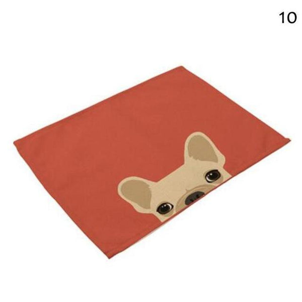 Cat& Dog Linen Placemat - Red-Dog - Other