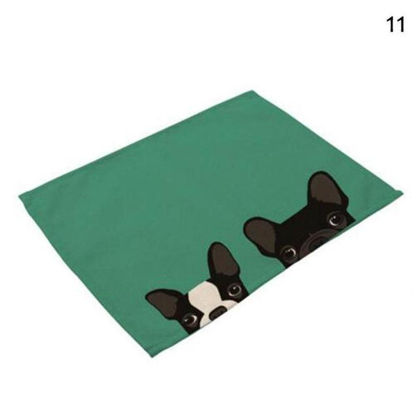 Cat& Dog Linen Placemat - Green-Pug - Other