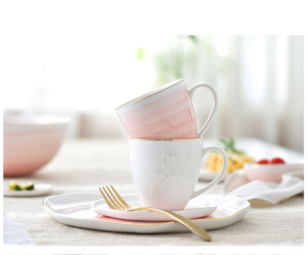 Pastel Gold Rimmed Cup
