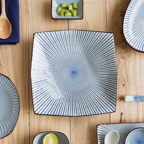 (Various Size) Japanese Style Blue Lines Ceramic Plate - Plate