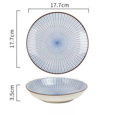 (Various Size) Japanese Style Blue Lines Ceramic Plate - 7Inch Deep Plate - Plate