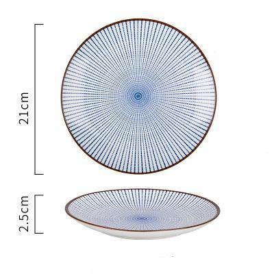 (Various Size) Japanese Style Blue Lines Ceramic Plate - 8Inch Round Plate - Plate