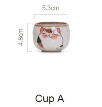 Mochi The Cat Japanese Style Teapot & Cup - Cup A - Cup & Mug