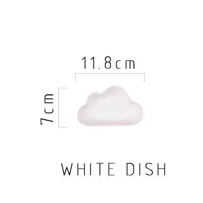 Happy Cloud Ceramic Plates - White Dish - Plate