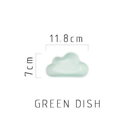 Happy Cloud Ceramic Plates - Green Dish - Plate