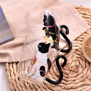 Black / White Cute Cat Glass Mug - Cup & Mug