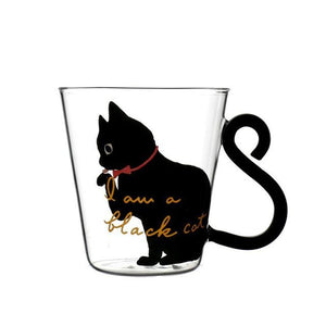Black / White Cute Cat Glass Mug - Black Cat - Cup & Mug