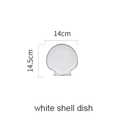 Blue Ocean Ceramic Collection - White Shell Plate - Plate