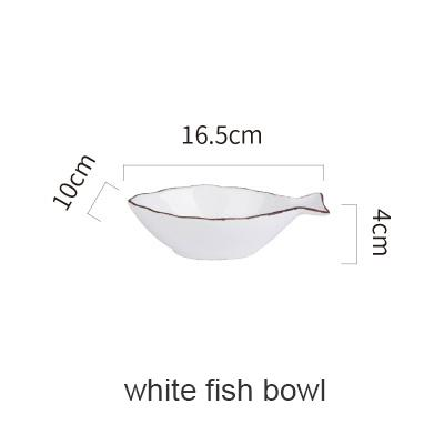 Blue Ocean Ceramic Collection - White Fish Bowl - Plate