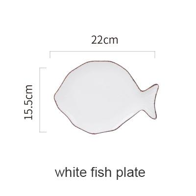 Blue Ocean Ceramic Collection - White Fish Plate - Plate