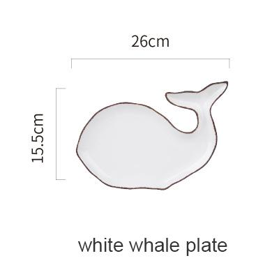Blue Ocean Ceramic Collection - White Whale Plate - Plate