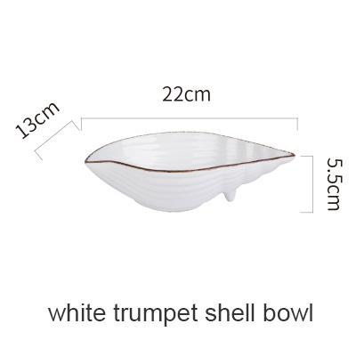Blue Ocean Ceramic Collection - White Trumpetshell B - Plate