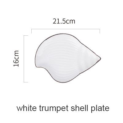 Blue Ocean Ceramic Collection - White Trumpetshell P - Plate