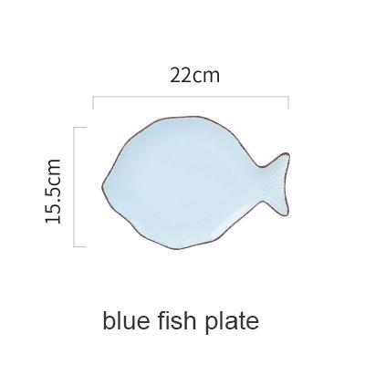Blue Ocean Ceramic Collection - Blue Fish Plate - Plate