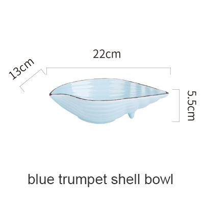 Blue Ocean Ceramic Collection - Blue Trumpetshell B - Plate
