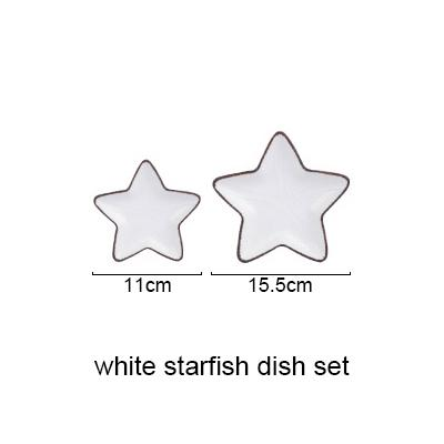 Blue Ocean Ceramic Collection - White Starfish Set - Plate