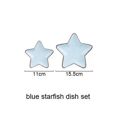 Blue Ocean Ceramic Collection - Blue Starfish Set - Plate