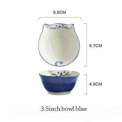 Cat Japanese Ceramic Plate & Bowl - 2 - Bowl