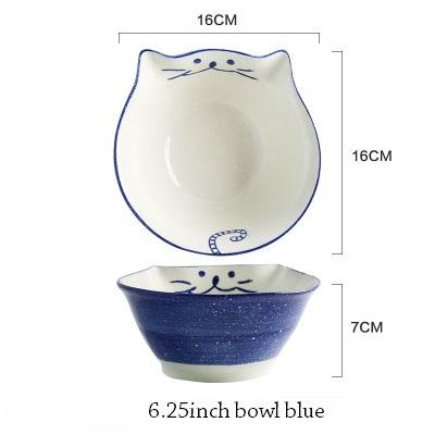 Cat Japanese Ceramic Plate & Bowl - 6 - Bowl
