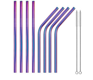 (2 Pcs/ Lot) Unicorn Metal Drinking Straw With Cleaner Brush - Other