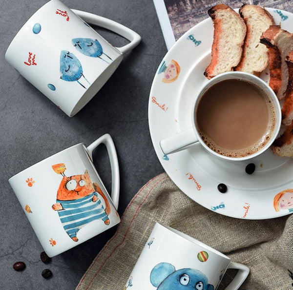 Hand-painted Characters Ceramic Coffee Mugs
