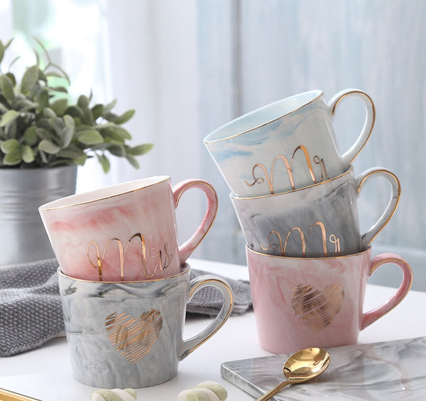 Handpainted Natural Marble Porcelain Mug (Mr & Mrs.)
