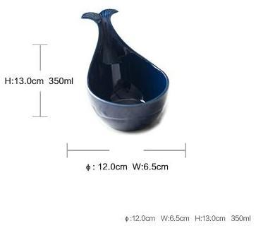 1 Pcs (Various Sizes) Nordic Style Blue Whale Ceramic Bowls - Blue Indigo-L - Bowl