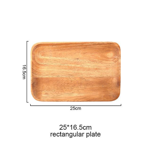 Rectangular Wooden Food Plate - Rectangle 25Cm 16Cm - Plate