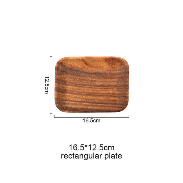Rectangular Wooden Food Plate - Rectangle 16Cm 12Cm - Plate