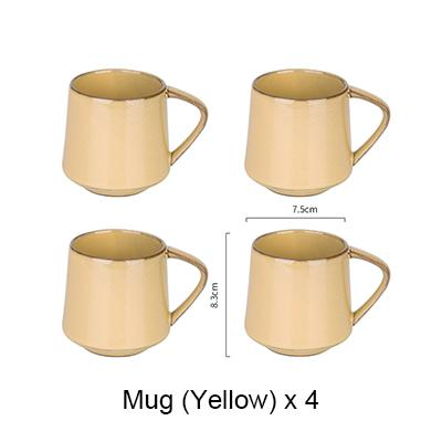 Nordic Style Retro Kiln Glazed Coffee Mug - 4X Yello - Cup & Mug