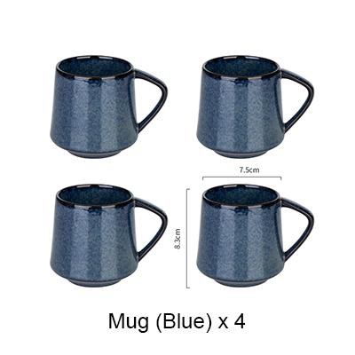 Nordic Style Retro Kiln Glazed Coffee Mug - 4X Blue - Cup & Mug
