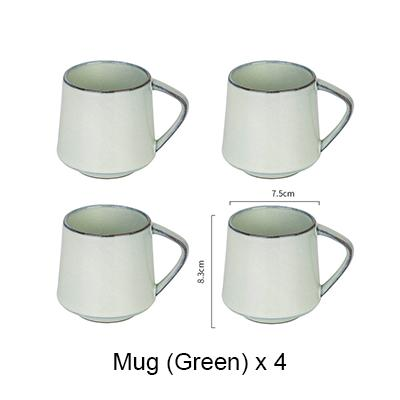 Nordic Style Retro Kiln Glazed Coffee Mug - 4X Green - Cup & Mug