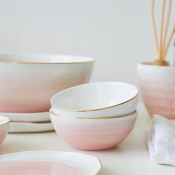 Pastel Gold Rim  Ceramic Bowl