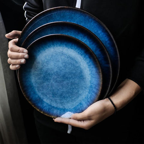 Sea Blue Glazed Flat Ceramic Plate - Plate